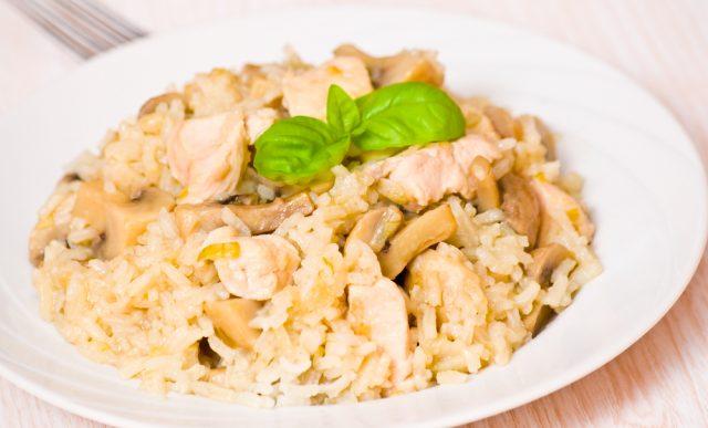 arroz con pollo blanco y champiñones